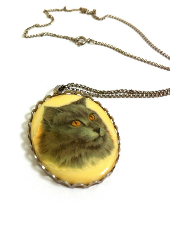Vintage Cat Pendant Necklace, Grey 'Persian' Cat