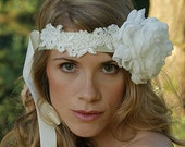 Wedding headband, bridal hair piece, lace crown, silk poppy, rhinestone satin self tie headband