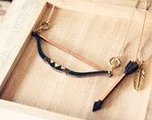 Bow and Arrow Tribal Feather Necklace - layered necklace set of 2