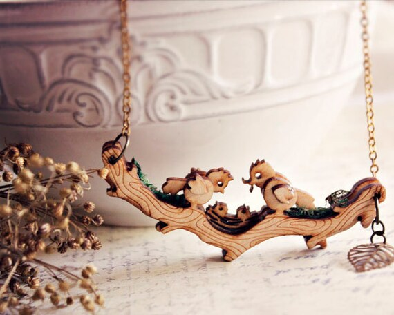 MOVABLE Birds on branch necklace -Mothers day gift bird nest