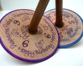 Wooden Spinning Tops x 3  - Personalised - Happy Birthday... Wooden Spinning Tops x 3 ...
