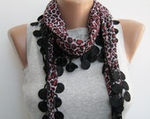 Red and black leopard cotton lace scarf,spring summer scarf