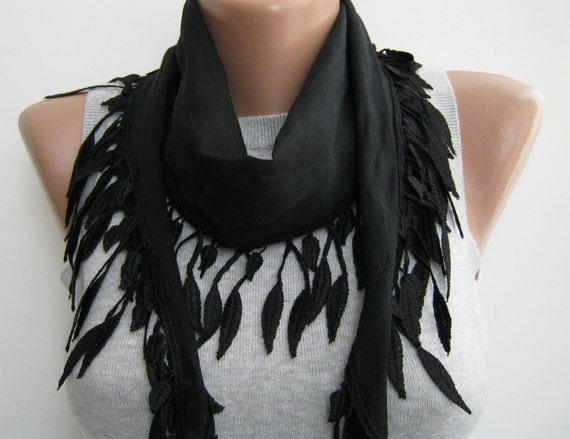 Black cotton lace scarf,spring,summer scarf