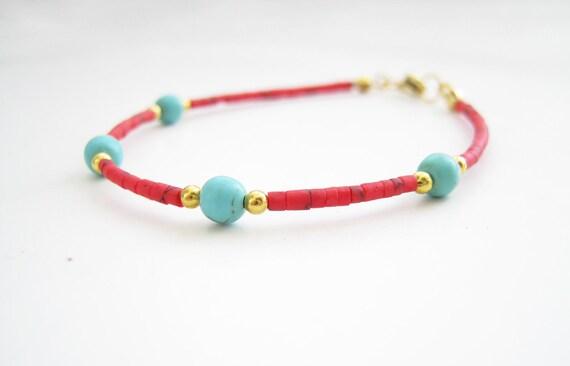 Summer bracelet- turquoise, red thin bracelet, minimalist bracelet