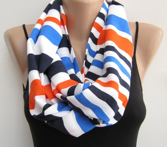 RESERVED LISTING for D. Infinity scarf, striped loop scarf, lightweight eternity scarf, handmade circle scarf