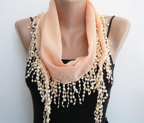 15% SALE Summer scarf, peach lace scarf, chiffon scarf
