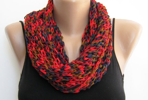 Infinity scarf- Multicolor hand knitted cotton fall scarf, loop scarf