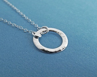 Silver Circle Necklace - Eternity Circle,  Hammered Finish, in Sterling Silver -  Dainty Necklace