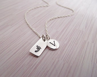 Baby Foot Necklace, Initial Necklace, Sterling SIlver, Newborn, Baby, Personalized, Initial, Letter