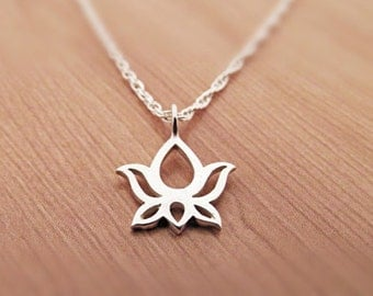 Petite Lotus Necklace, sterling silver flower , Yoga lotus necklace, Sterling Silver Necklace,   Yoga Jewelry, Om, Ohm