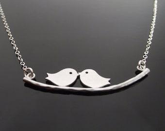 SALE! Love Birds Necklace, Silver Bird Necklace, Silver Sparrow Necklace, Kissing birds necklace, Sparrow bird -  Cute, Dainty, mom, teen
