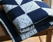 Baby Boy Patchwork Quilt, Nursery Bedding, Navy Blue Baby Quilt, Modern Baby Bedding, Blue Crib Bedding