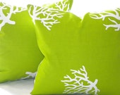 "Decorative Chartreuse/ White Coral indoor/outdoor beach - ""16 x 16"" - MicaBlue"