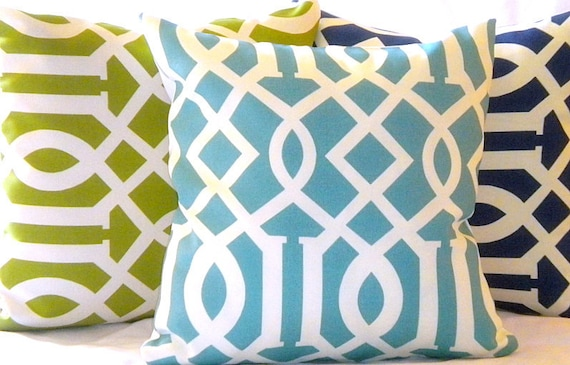 Designer Outdoor Pillow covers set includes (3) Trellis light blue , green and navy 20 x 20