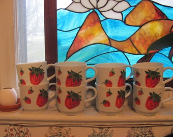 Set of 8 Georges Briard Strawberry Tea Cups Demitasse