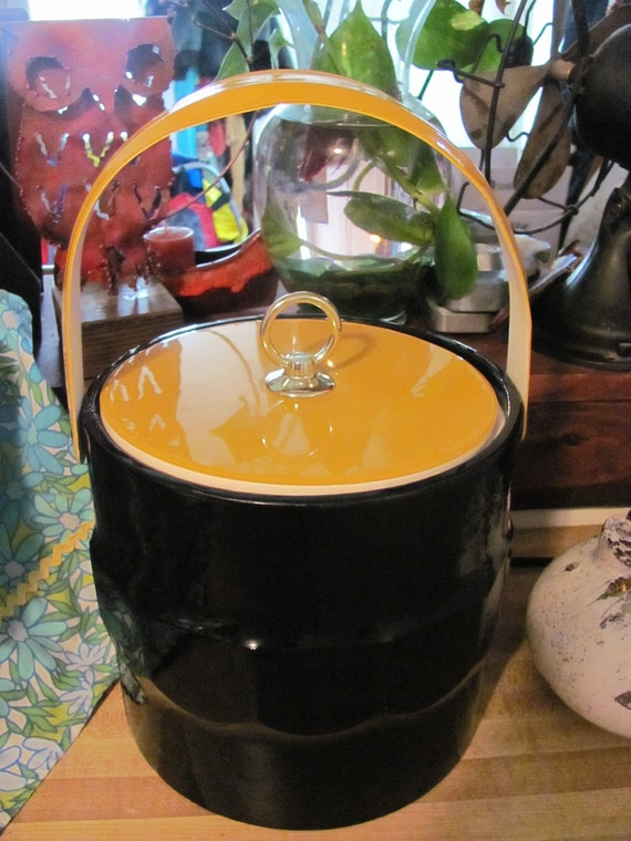 Retro mod black vinyl ice bucket with yellow lid and gold lid lift