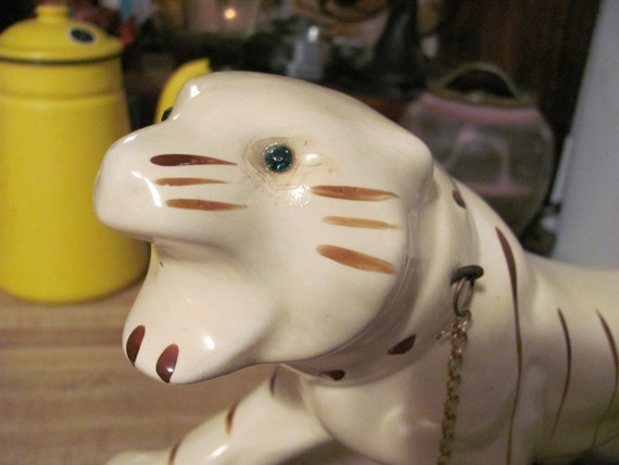 1950s Ceramic White Tiger Planter on Brown Log Kitschy