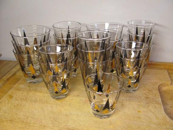 SALE-Gold and Black Retro-Mod Bar Glasses- 22 Piece Set of Swigs-Mad Men