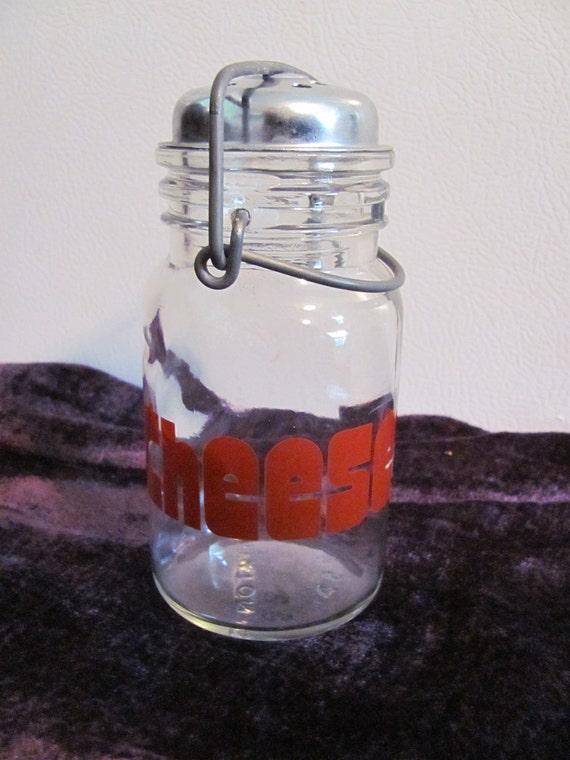Wheaton Glass Cheese Shaker Red CHEESE Metal Top