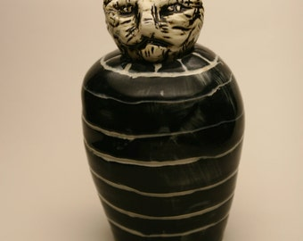 Black and White Cat Urn