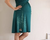 Maternity dress . Teal Green Nursing dress . Super Soft Jersey Knee Length dress - Surrounded by big trees - size Small