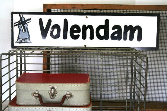 awesome vintage handpainted sign with dutch city volendam netherlands