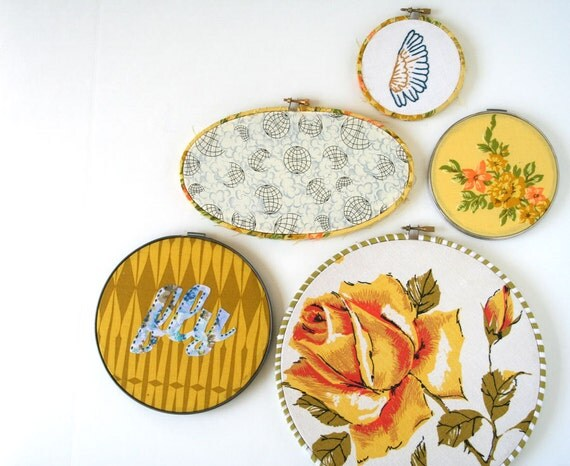 embroidery hoop wall art hanging set of (5): instant collection gallery FLY golds embroidered
