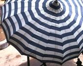 Nautical Striped Vintage Umbrella with Clear Plastique Handle