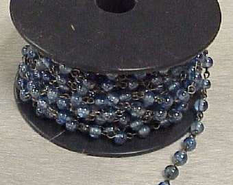 Glass Bead Chain Blue 1 yard