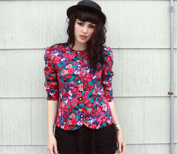 PINK POSIES 80s Floral Blazer - small to medium