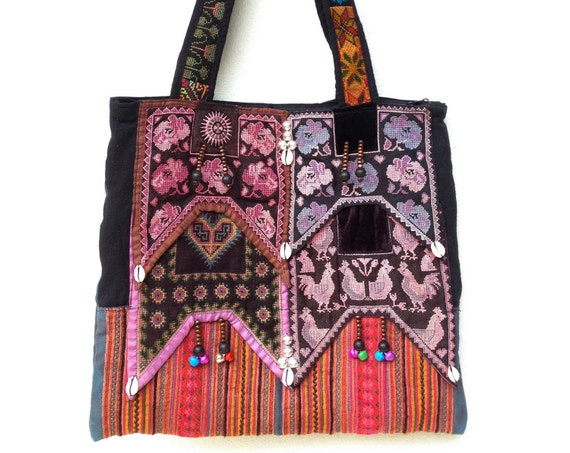Hmong cross stitch hand Embroidered ethnic Tote tribal textile boho style