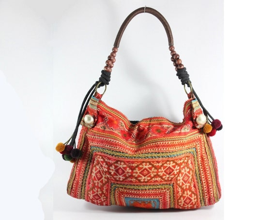 Bohemian shoulder tote bag, Hill tribe Embroidered, Tribal pattern fabric, Vintage look