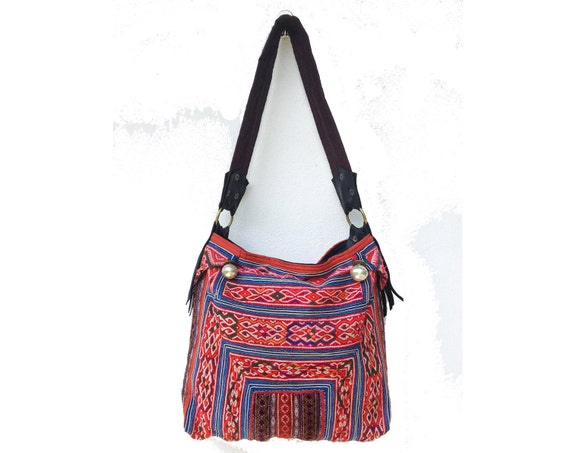 Red & Blue Embroidered Shoulder Tote Bag, Boho gypsy style,Tribal pattern oriental Lanna textile