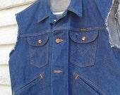 Sale: 60s Maverick Denim Vest Dark Indigo 4 Pocket Small 34R 36R 38R