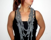 Knotted Scarf: Cotton Jersey Grey Marl Infinity Loop Necklace