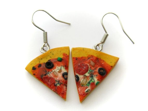 Tasty Pizza Earrings (Polymer Clay Jewelry)