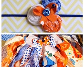 Baby Girl Fabric Tutu and Headband Set...Toddler Fabric Tutu and Headband Set...Gator Fabric Scrap Tutu Set..UF Tutu Set..Children tutu..