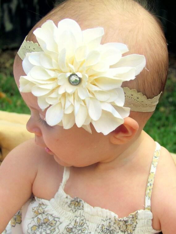 Baby Girl Headband..Cream Flower Headband..Toddler Girl headband..Infant Headband..Newborn Headband..Photography Prop