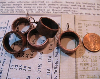 Upcycled Copper Pipe Pendant Bezel - Open Back for Resin, Polymer, etc. Small Antique with 1 Loop - Set of 5