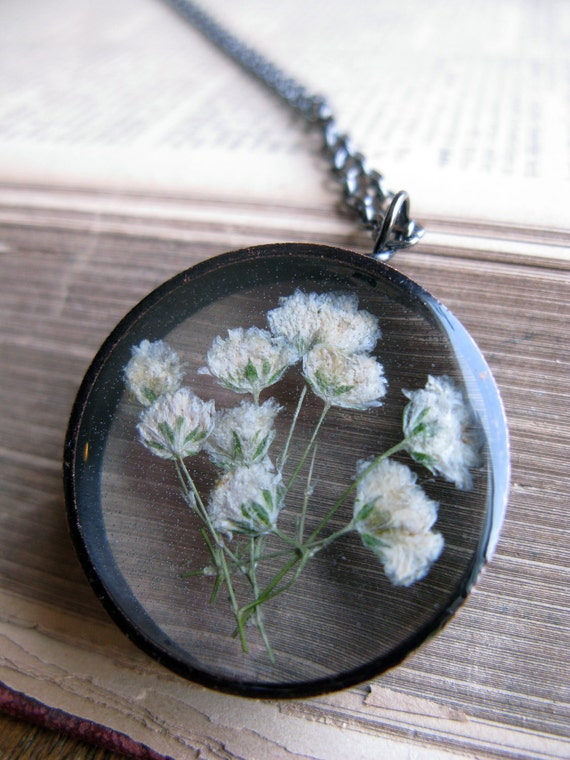 Beautiful Baby's Breath Pendant - real pressed baby's breath flowers encased in resin with clear copper bezel