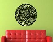 Vinyl Wall Art Floral Zen Ornate Circular Motif