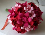 RESERVED: Sweet and Traditional Petite Red Roses and Pink Lilies Origami Paper Bouquet