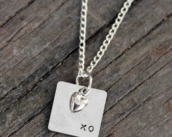 "Metal Hand Stamped ""XO"" Pendant"