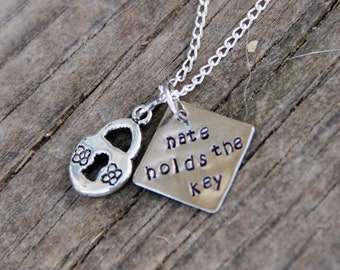 He Holds the Key Custom Hand Stamped Necklace