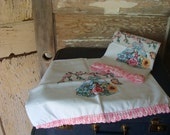 vintage pillowcases with crocheted edge and Southern Belle