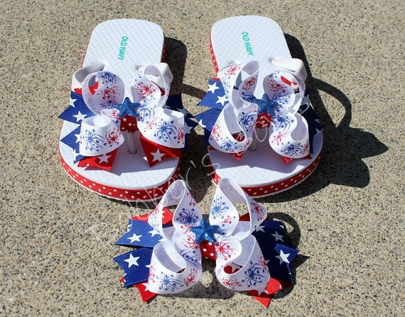 Patriotic 4th of July Fancy Flip Flops with matching Hair bow Red,White,and Blue Boutique Hair bows
