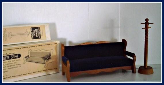Dollhouse furniture,  Sofa & Coat Rack, wood/padded,  by Shackman