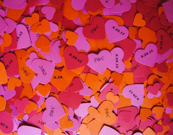 Wedding Decorations/ Personalized Confetti/ Wedding Confetti/ Party Decorations/ Personalized Hearts for Table Decorations (300pc.)