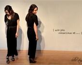 maxi asymmetrical draped black dress front pocket - free size -