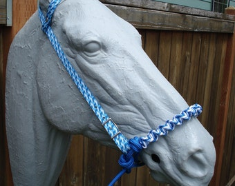 Indian Bosal w/Blue Square Print One Ear Headstall FREE SHIPPING